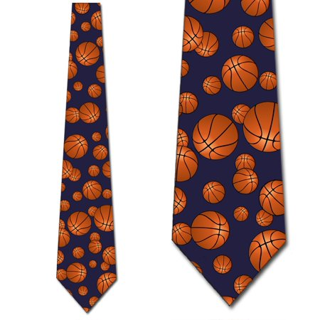 Basketball Ties Mens Sports Navy Necktie by Three Rooker (Basketball Mens Tie)