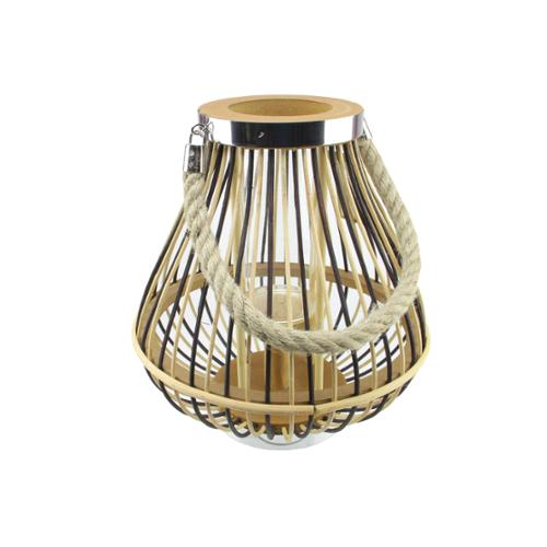 """11"""" Rustic Chic Pear Shaped Rattan Candle Holder Lantern with Jute Handle"""