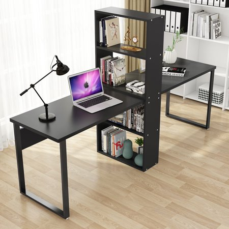 Tribesigns 94 Computer Office Desk With Shelves For Two Person Extra Large Double Workstations Storage Home Use Black