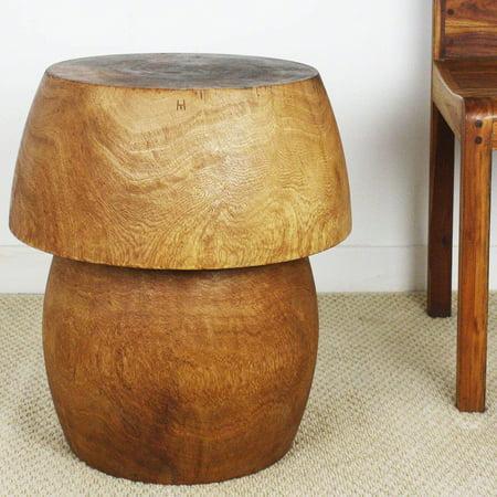 Haussmann Handmade Mango HED Mushroom Handmade Light Teak Tone Oil Finish Storage End Table