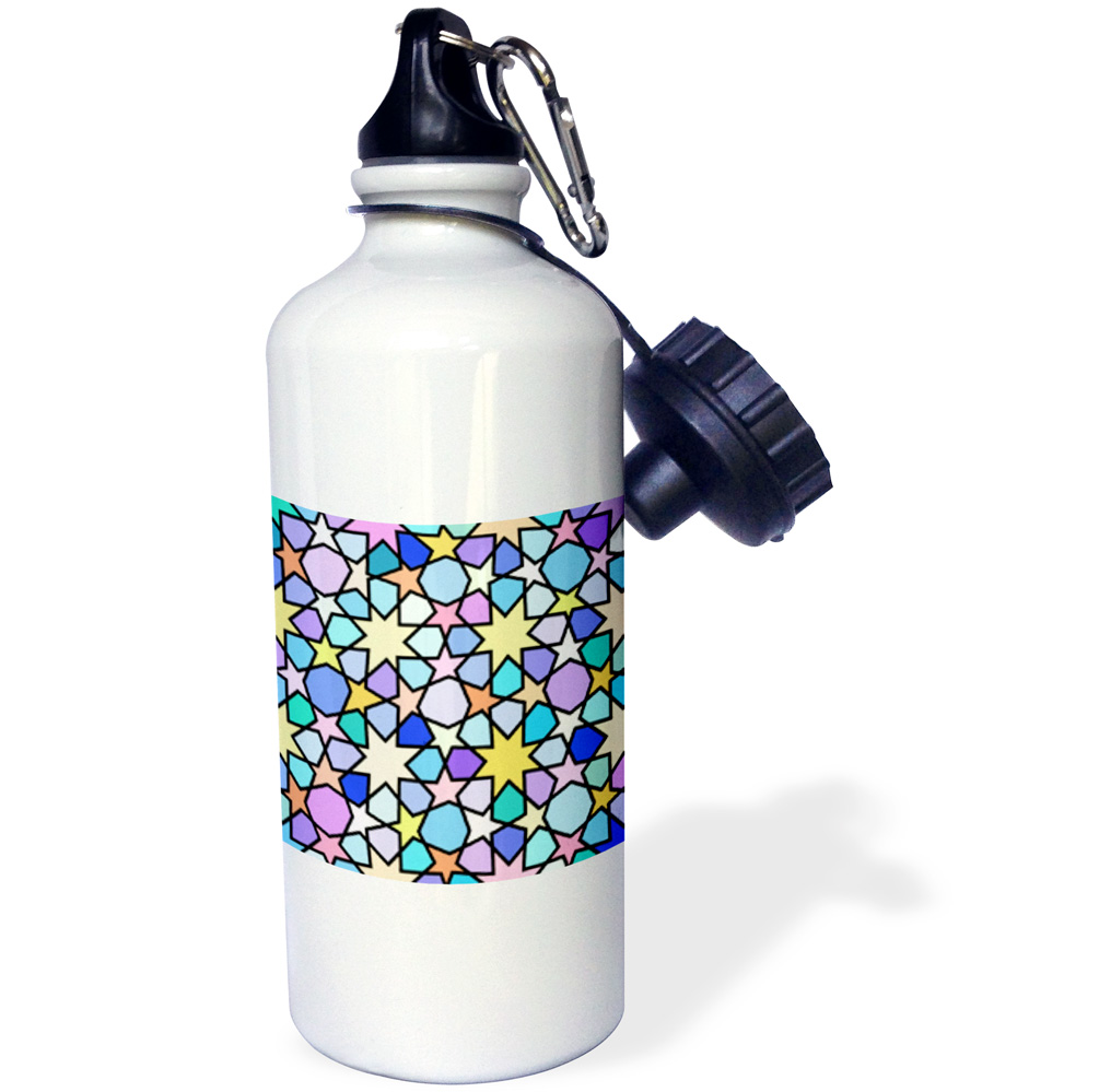 3dRose Rainbow Multicolored Star Pattern with Stained Glass Effect - Bright Colorful Bold and Vibrant, Sports Water Bottle, 21oz