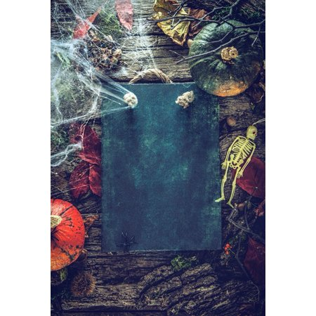 HelloDecor Polyster 5x7ft Spooky Halloween Pumpkins Skulls Photography Backdrops Indoor Studio Backgrounds Photo Props