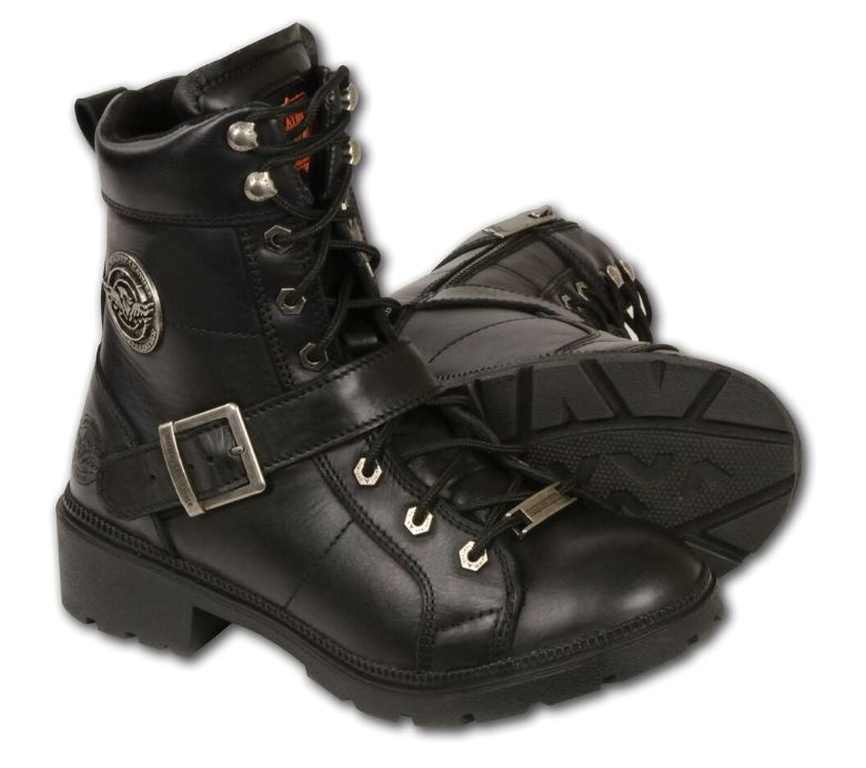 Black, Size 7.5 Milwaukee Womens Side Zipper Plain Toe Boots