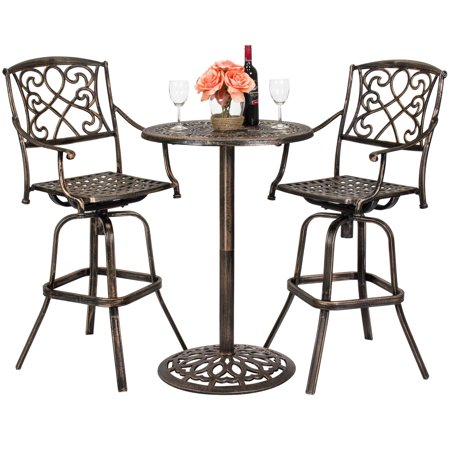 Best Choice Products 3-Piece Patio Bistro Set, Outdoor Bar Height Cast Aluminum Furniture, includes 2 360-Swivel Chairs and Accent Table - Antique Copper finish ()