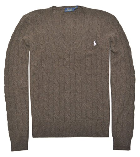 Polo Ralph Lauren Womens Merino Wool Cashmere Cable Sweater (S, Dark Brown Heather) by