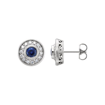 Jewels By Lux 14k White Gold Chatham Sapphire & 1/4 CTW Diamond Earrings