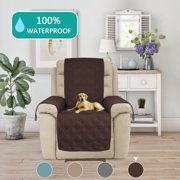 """Quilted Furniture Recliner Protector Anti-Skid, Microfiber Sofa Chair Protector / Slipcovers with Waterresistant PVC backing Stay in Place (Recliner: Brown) - 91"""" X 84"""""""