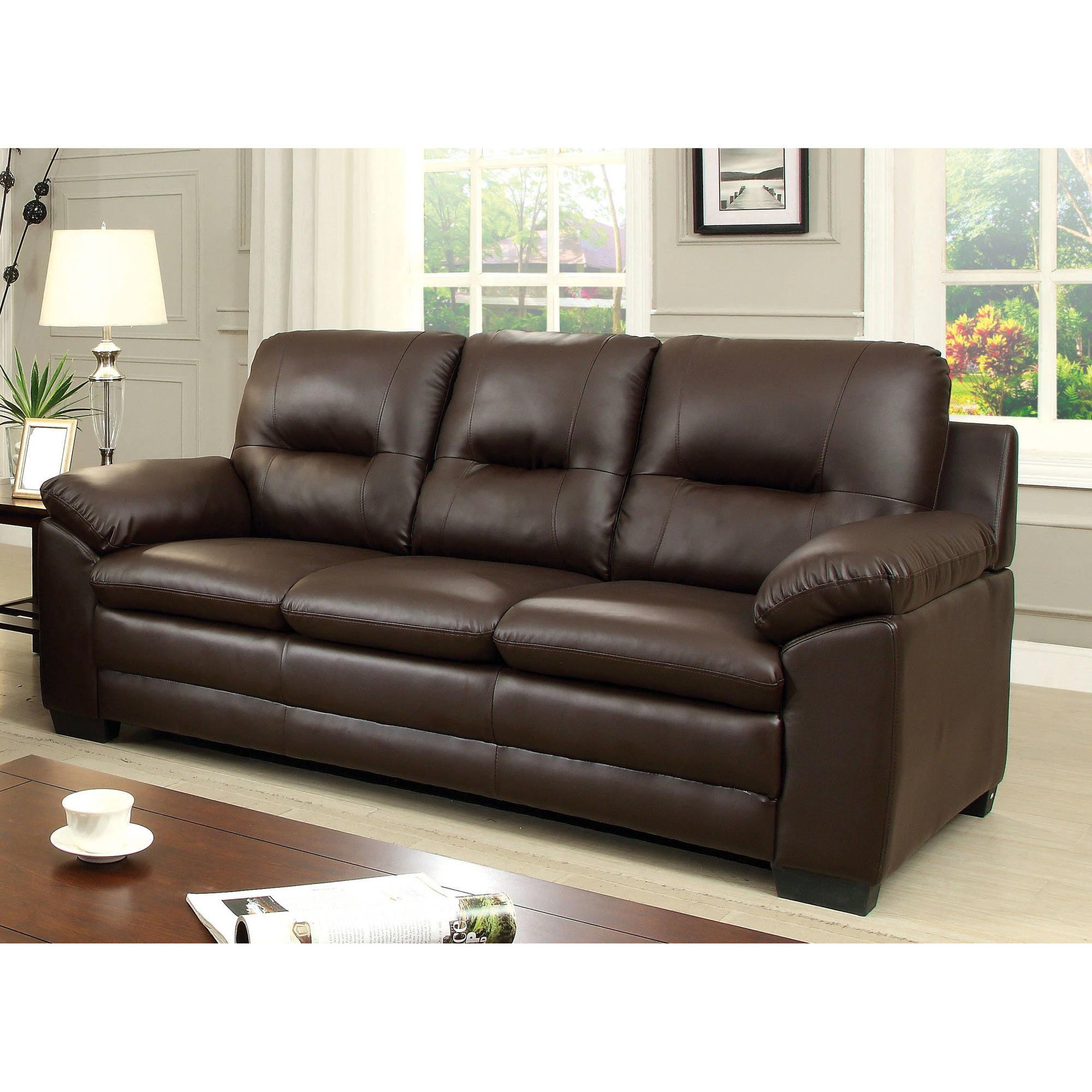 Furniture of America Truman Contemporary Leatherette Sofa, Multiple Colors