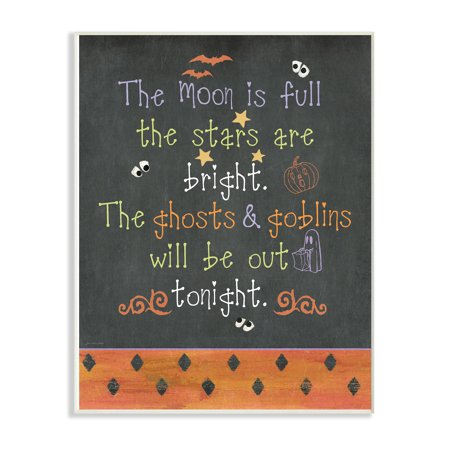 Is Halloween A Full Moon 2019 (The Stupell Home Decor Collection Halloween Typog Chalkboard Moon is Full Ghost Goblins Tonight Oversized Wall Plaque Art, 12.5 x 0.5 x)