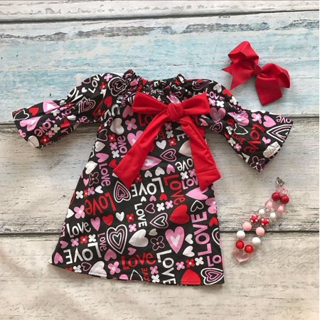 Toddler Kid Baby Girls Valentine Day Love Printed Party Pageant Dress Clothes 1-5 Years - Party Girl Clothes