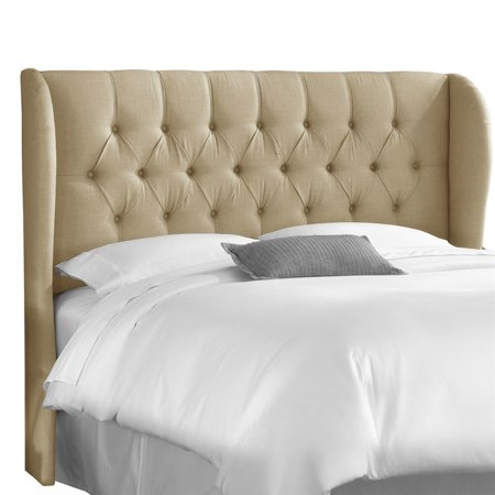 Marlow Tufted Wingback Sandstone Linen Upholstered Headboard, Multiple Sizes ()