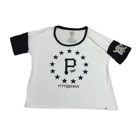 Pittsburgh Pirates 47 Brand Women White Black Star Design Loose Fit T-Shirt (S) by