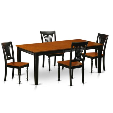 Wood Seat Dining Room Set - Table & 4 Solid Chairs, Black & Cherry - 5 Piece ()