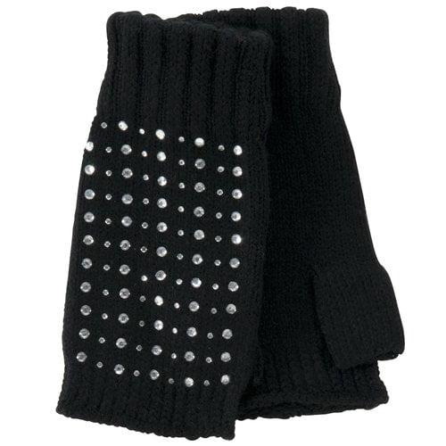 No Boundaries Fingerless Rhinestone Gloves, Black