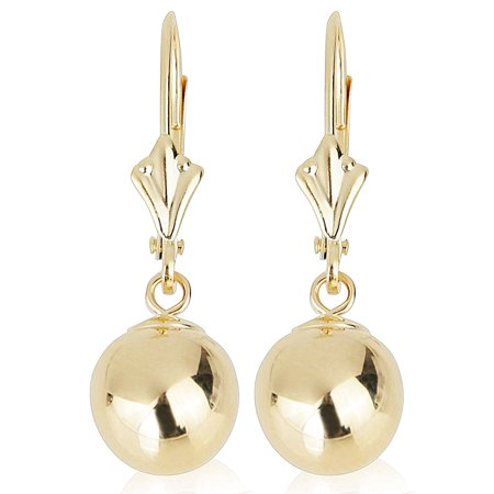 14k Yellow Gold Drop Earrings with Round Gold Ball (Lever back Ball Earrings, Balls Available in 5-8 mm) 14k Gold Stick Drop Earrings