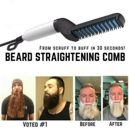 Quick Hair Straightening, Beard Straightening Comb Curly Hair Straightening Curler Comb Men's Professional Quick Hair Styler Multifunctional Hair Comb Curling Iron - Curly Beard