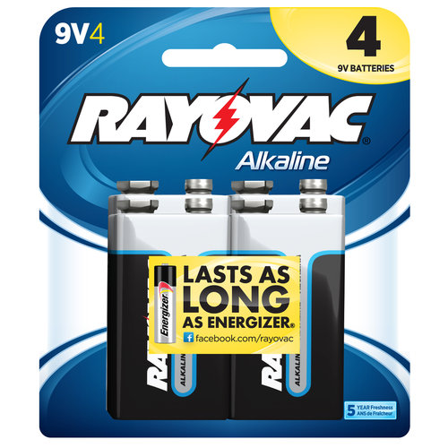 Rayovac Alkaline Value Pack 9V Batteries, 4-pack