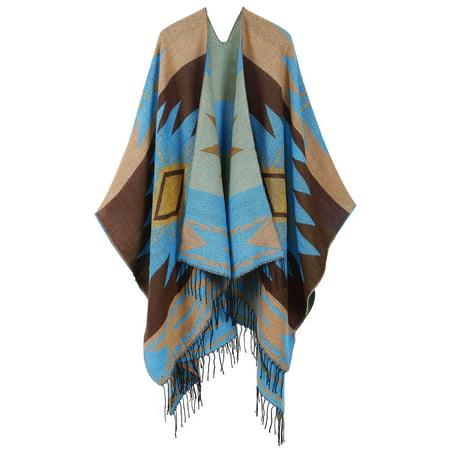 Vintage Merino Wool Kimono Wrap Cardigan w/ Tassels,khaki,Coffee blue (Merino V-neck Cardigan)