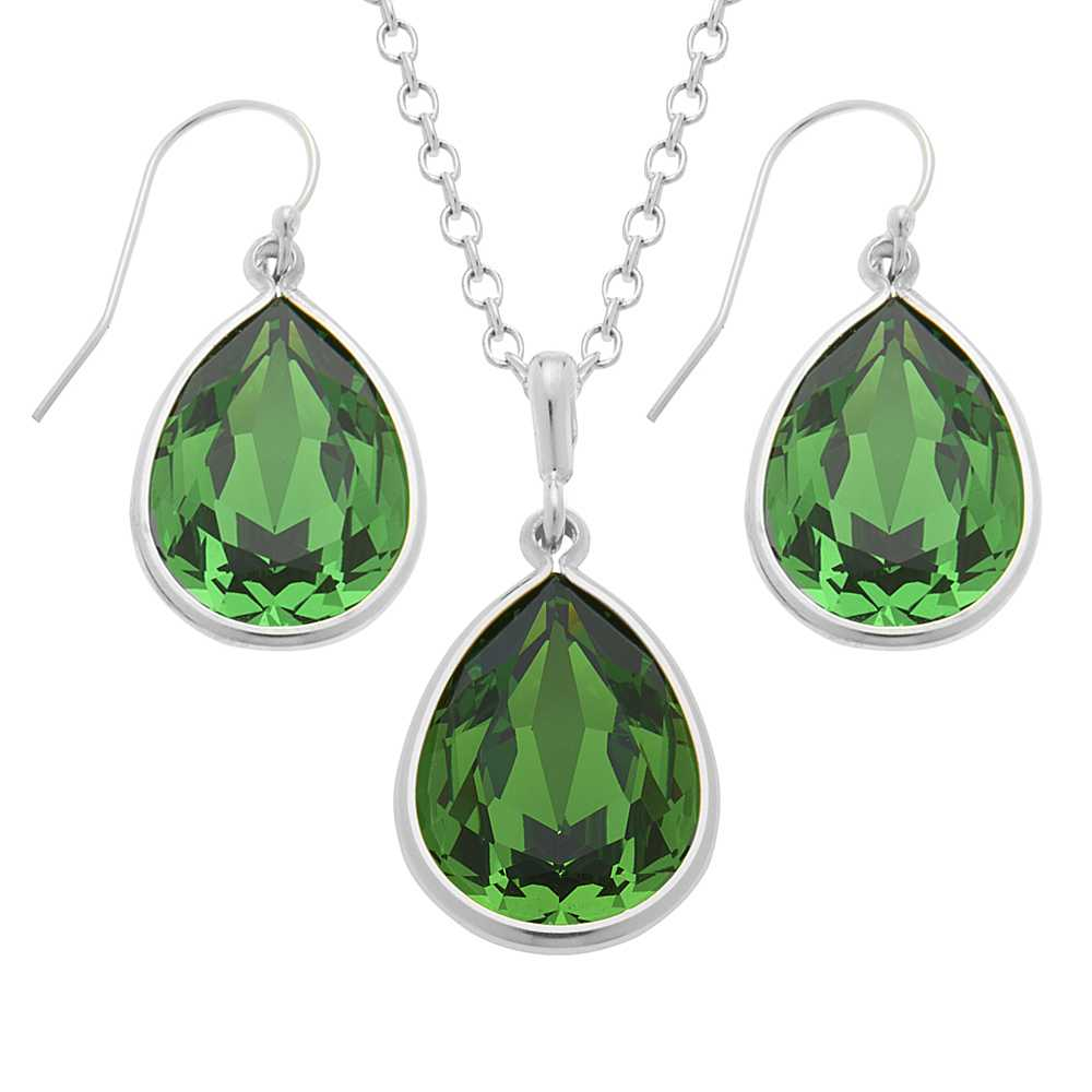 Collection Green 925 Silver Jewelry Set Created with Swarovski® Crystals