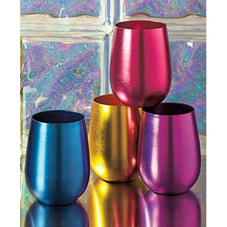 Stemless Wine Glasses Retro Colored Shatterproof Set of (Retro Glass)