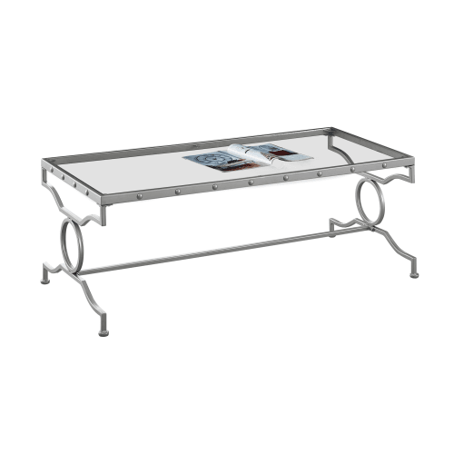 Glass Coffee Tables Walmart: Monarch Coffee Table Silver Metal With Tempered Glass