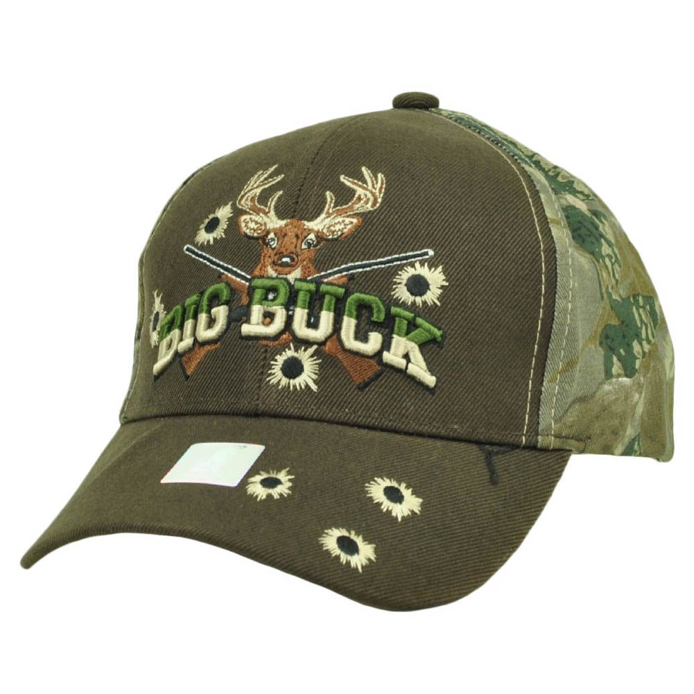 Big Buck Hunter Hunting Hunt Deer Brown Camouflage Camo Adjustable Hat Cap