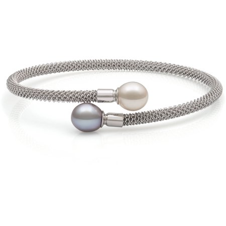8-9mm White and Grey Drop Cultured Freshwater Pearl Sterling Silver Mesh Bracelet, 7.5