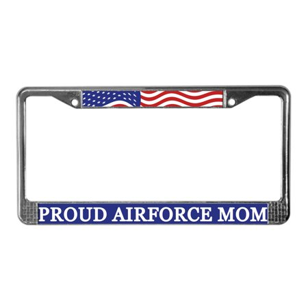 CafePress - Proud Airforce Mom - Chrome License Plate Frame, License Tag Holder - Mom License Plate Frame