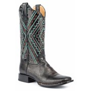 Roper Native Square Toe Womens Black Leather Cowboy Boots 8