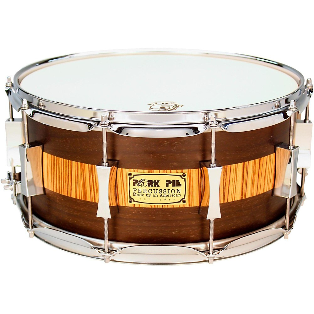 Pork Pie Exotic Rosewood Zebrawood Snare Drum 14 x 6.5 in. by Pork Pie