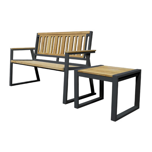 Asta Furniture California Room Chino Teak and Iron Park Bench by ASTA Home Furnishing