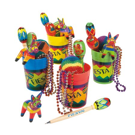 Fun Express - 4 Fiesta Fun Cups for Cinco de Mayo - Party Supplies - Pre - Filled Party Favors - Misc Pre - Filled Party Favors - Cinco de Mayo - 4 Pieces