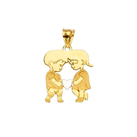 Ioka - 14K Yellow Gold Girl and Boy heart Charm Pendant For Necklace or