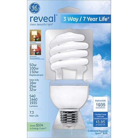 ge reveal 16 25 32 watt 50 100 150 watt equivalent 3 way cfl bulb 1 pack. Black Bedroom Furniture Sets. Home Design Ideas