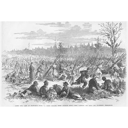 Carrying rails and gathering persimmon at Staffords Store Virginia Poster Print by Frank  Leslie