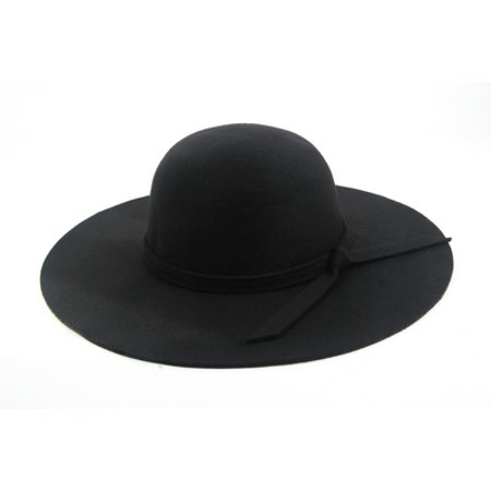 Women Felt Wide Floppy Hat 953 - Black Felt Derby Hat