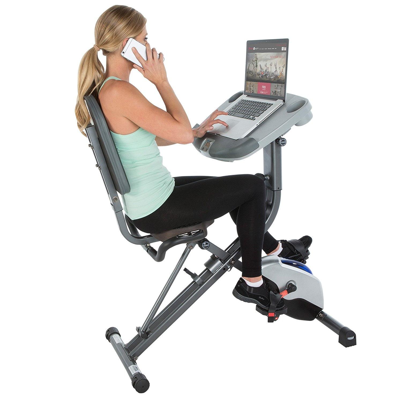 Exerpeutic WORKFIT 1000 Desk Station Folding Semi-Recumbe...