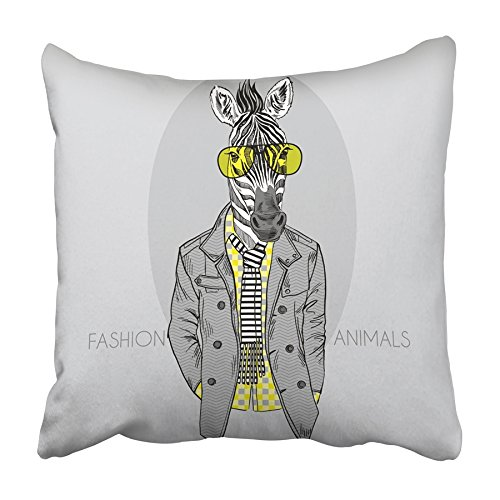 ARHOME Animal of Zebra in Yellow Glasses Grey Hipster Funny Africa Drawing Kid Man Pillowcase Cushion Cover 20x20 inch