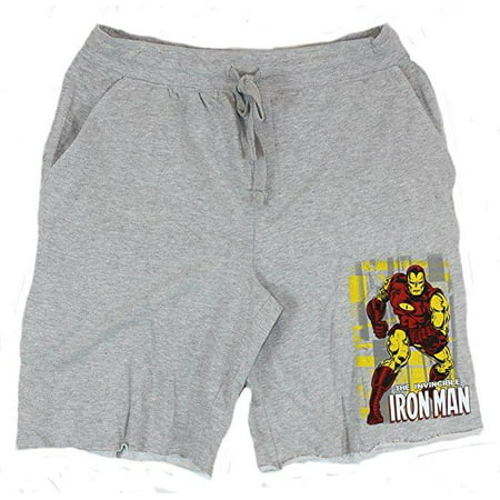 Mens 22 Inch Shorts Charcoal - Iron Man (Marvel Comics)Wal Bustin Men's 22 Inch Jam Shorts French Terry Shor...