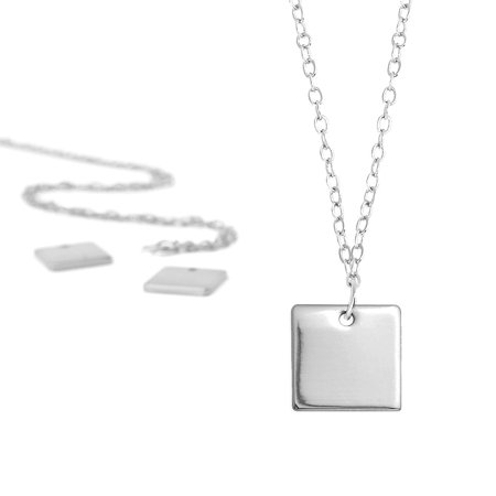 ImpressArt Personal Impressions Necklace Set, 18 Inch Necklace w/ 11mm Square Stamping Blank Pendant, 5 Sets, Silver Plated (Personal Necklaces)