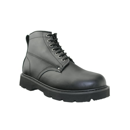 OwnShoe Mens Waterproof Work Boots Non-Slip Plaintoe Leather Work Shoes