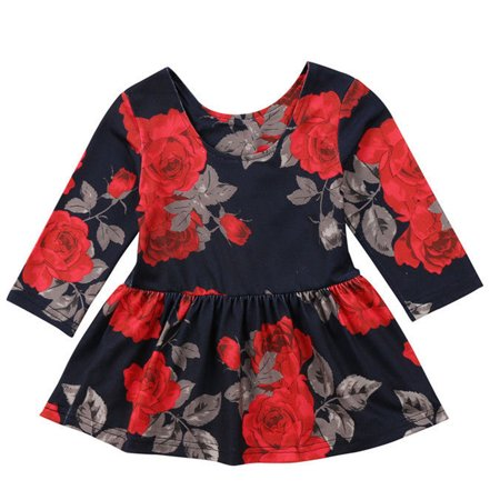 Fashion Baby Toddler Girls Long Sleeve Rose Pageant Dress Outfit - Black Swan Outfit Fancy Dress