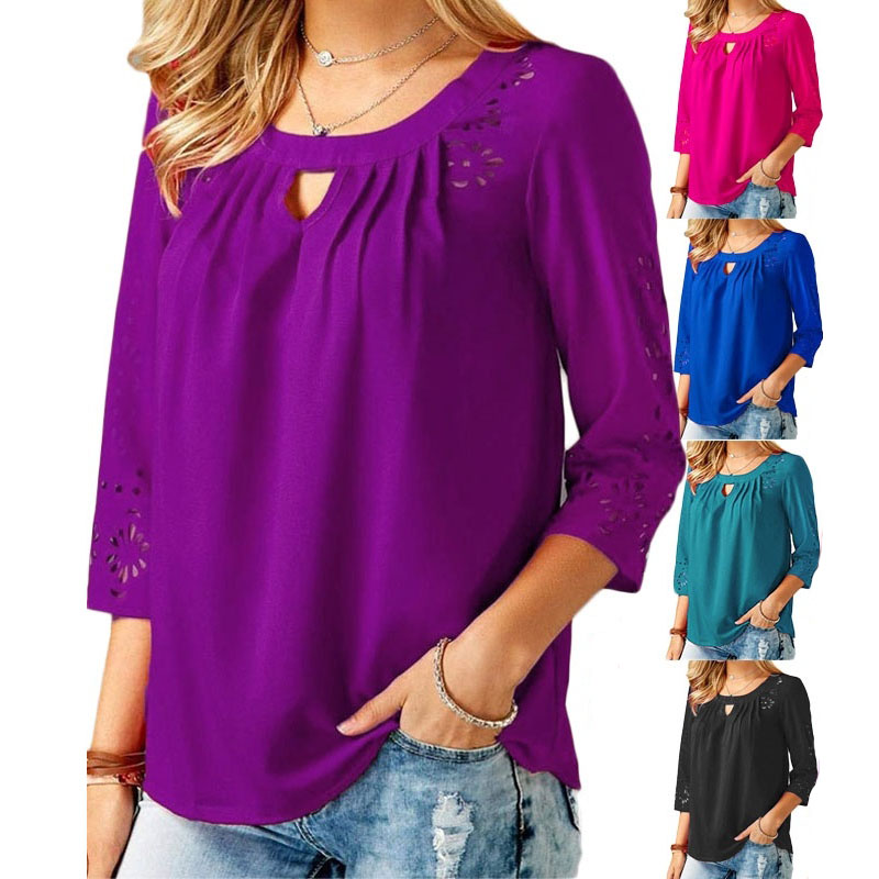 Autumn Winter Women Casual 3/4 Sleeve Tops Sexy Round Neck Hollow Out Lace Shirts Solid Color Loose Pleated T-shirts