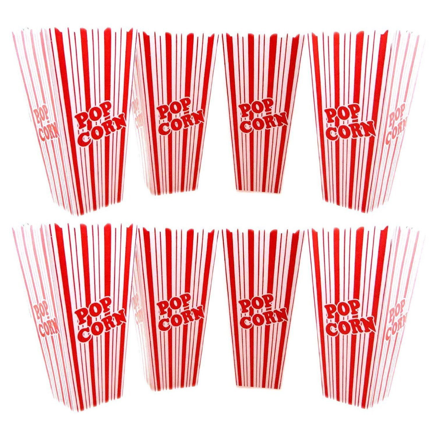 Classic Plastic Popcorn Tubs Set Reusable Containers Buckets Retro Movie Theater Style Movie Night Serving Bowls (Set of 8), movie popcorn Size stripped.., By Deco4Fun