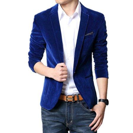 bac09cf7d DYMADE - DYAMDE Men's One Button Slim Fit Velvet Suit Sport Coats Jacket -  Walmart.com
