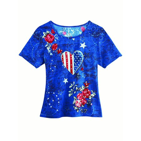 Women's Patriotic Country Roses and Heart Sequins Scoop Neck Short Sleeve T-Shirt Top, Large, Blue Multi
