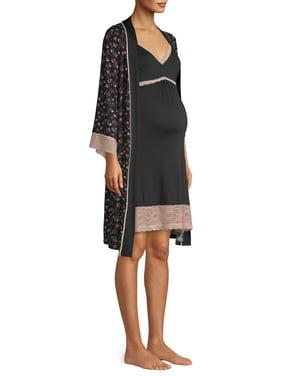 Maternity Nanette Nanette Lepore 2-Piece Nursing Super Soft Nightgown and Robe Set