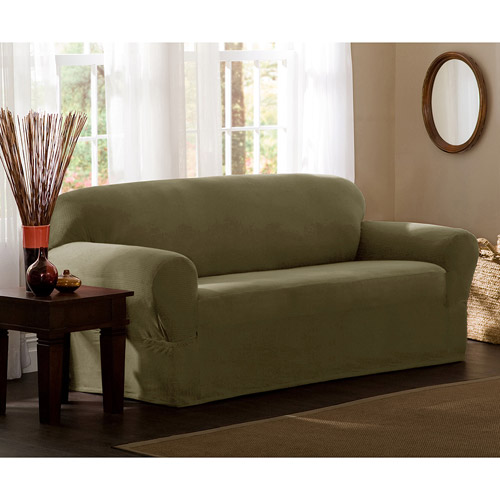 Maytex Strech Reeves 1 Piece Loveseat Furniture Cover Slipcover, Chocolate Brown
