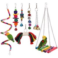 Linnnzi Bird Parrot Toys Play Set for Bird Cage, Colorful Chewing Hanging Swing Toy Bells, Ladder Swing for Small Parrots, Macaws, Parakeets ,Cockatiels and Love Birds(Rondom Color)