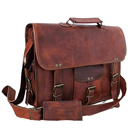 5331c98a6baa DHK - DHK Genuine Vintage Brown Leather Messenger Shoulder Laptop ...